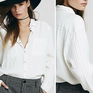 Free People Button Up Oversized White Shirt M